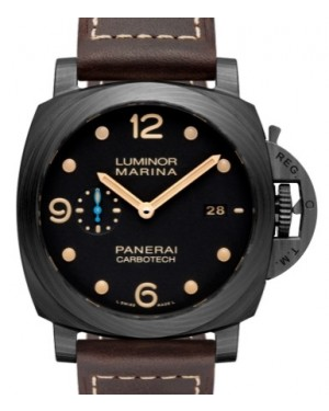 Panerai PAM 661 Luminor Marina Carbotech™ Carbotech Black Arabic / Dot Dial & Smooth Leather Bracelet 44mm - BRAND NEW