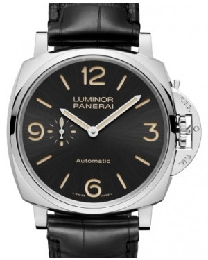 Panerai PAM 674 Luminor Due Stainless Steel Black Arabic / Index Dial & Smooth Leather Bracelet 45mm - BRAND NEW