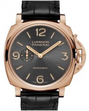 Panerai PAM 675 Luminor Due Red Gold Anthracite Arabic / Index Dial & Smooth Leather Bracelet 45mm - BRAND NEW