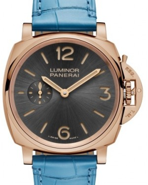 Panerai PAM 677 Luminor Due Red Gold Anthracite Arabic / Index Dial & Smooth Blue Leather Bracelet 42mm - BRAND NEW