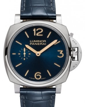 Panerai PAM 728 Luminor Due Stainless Steel Blue Arabic / Index Dial & Smooth Leather Bracelet 42mm - BRAND NEW