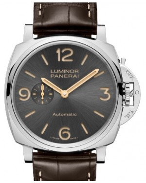 Panerai PAM 739 Luminor Due Stainless Steel Anthracite Arabic / Index Dial & Smooth Leather Bracelet 45mm - BRAND NEW
