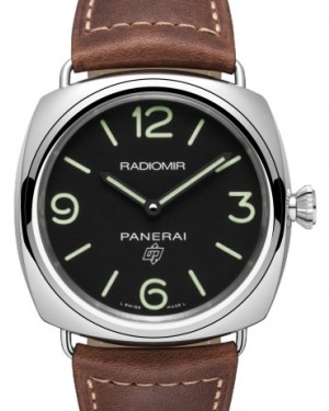 Panerai PAM 753 Radiomir Base Logo Stainless Steel Black Arabic / Index Dial & Smooth Leather Bracelet 45mm - BRAND NEW