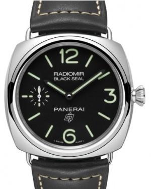 Panerai PAM 754 Radiomir Black Seal Logo Stainless Steel Black Arabic / Index Dial & Smooth Leather Bracelet 45mm - BRAND NEW