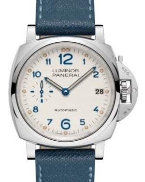 Panerai PAM 903 Luminor Due Stainless Steel Ivory Arabic Dial & Smooth Leather Bracelet 38mm - BRAND NEW