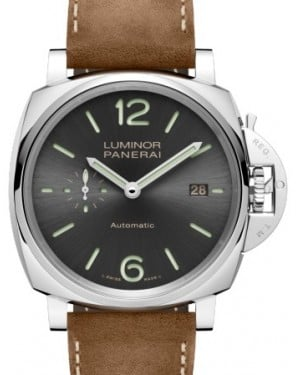 Panerai PAM 904 Luminor Due Stainless Steel Anthracite Arabic / Index Dial & Smooth Leather Bracelet 42mm - BRAND NEW