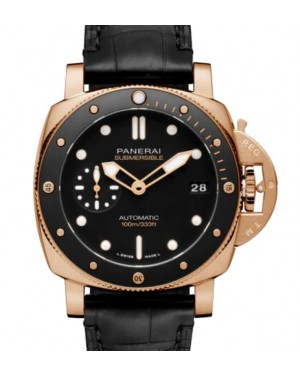 Panerai Submersible Goldtech™ Gold with Copper 42mm Black Dial Alligator Leather Strap PAM00974 - BRAND NEW