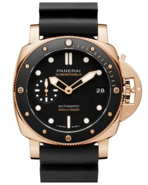 Panerai Submersible Goldtech™ Gold Copper 42mm Black Dial Rubber Strap PAM01164 - BRAND NEW