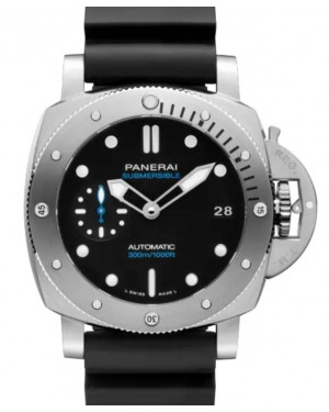 Panerai Submersible Stainless Steel 42mm Black Dial Rubber Strap PAM00973 - BRAND NEW