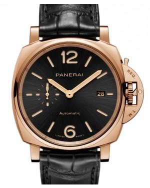 Panerai Luminor Due Goldtech™ Gold Copper 42mm Black Dial Alligator Leather Strap PAM01041 - BRAND NEW