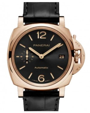 Panerai Luminor Due Piccolo Due Goldtech™ Gold Copper 38mm Black Dial Alligator Leather Strap PAM01029 - BRAND NEW