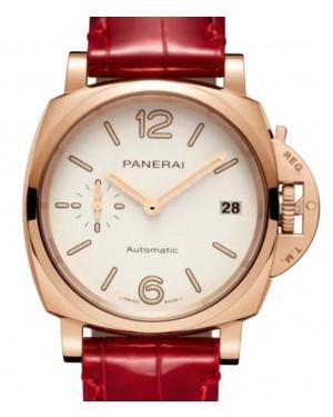 Panerai Luminor Due Piccolo Due Goldtech™ Gold Copper 38mm White Dial Alligator Leather Strap PAM01045 - BRAND NEW