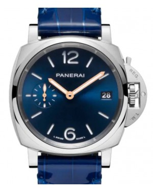 Panerai Luminor Due Piccolo Due Stainless Steel 38mm Blue Dial Alligator Leather Strap PAM01273 - BRAND NEW