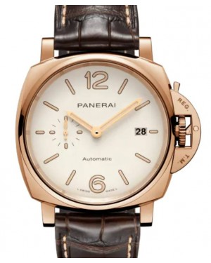 Panerai Luminor Due Goldtech Gold Copper 42mm White Dial Alligator Leather Strap PAM01042 - BRAND NEW