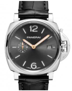Panerai Luminor Due Stainless Steel 42mm Black Dial Alligator Leather Strap PAM01250 - BRAND NEW