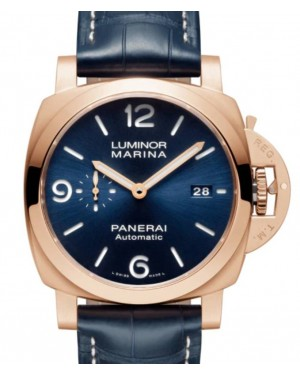 Panerai Luminor Marina Goldtech™ Sole Blu Gold Copper 44mm Blue Dial Alligator Leather Strap PAM01112 - BRAND NEW