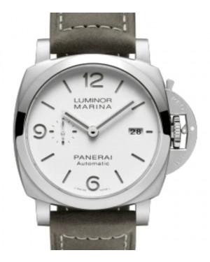 Panerai Luminor Marina Stainless Steel 44mm White Dial Leather Strap PAM01314 - BRAND NEW