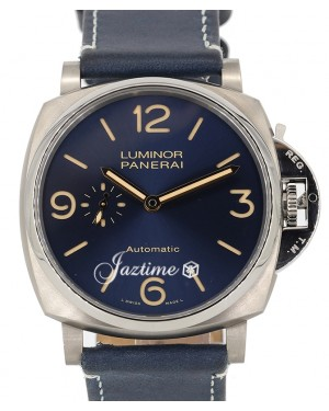 Panerai PAM 729 Luminor Due Titanium Blue Arabic / Index Dial & Smooth Leather Bracelet 45mm - PRE-OWNED