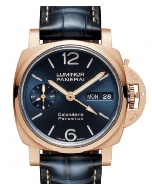 Panerai Luminor Perpetual Calendar Goldtech™ Gold Copper 44mm Blue Dial Alligator Leather Strap PAM00742 - BRAND NEW