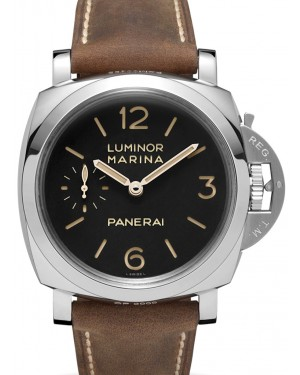 Panerai PAM 00422 Luminor Marina 3 Days Stainless Steel Black Arabic/Index Dial & Scamosciato Brown Strap 47mm - BRAND NEW