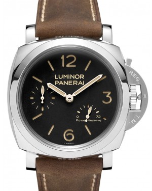 Panerai PAM 00423 Luminor Power Reserve 3 Days Stainless Steel Black Arabic/Index Dial & Scamosciato Brown Strap 47mm - BRAND NEW