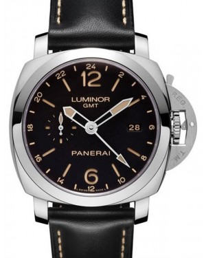Panerai PAM 00531 Luminor GMT Stainless Steel Black Arabic/Index Dial & Leather Strap 44mm - BRAND NEW