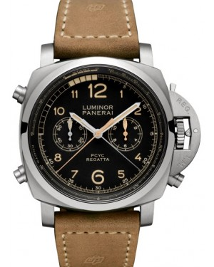 Panerai PAM 00652 Luminor Regatta Chrono Flyback Titanium Black Arabic Dial & Leather Strap 47mm - BRAND NEW