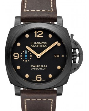 Panerai PAM 00661 Luminor Marina Carbotech™ Black Arabic/Index Dial & Leather Strap 44mm - BRAND NEW