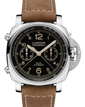 Panerai PAM 00653 Luminor Yachts Challenge Stainless Steel Black Arabic Dial & Leather Strap 44mm - BRAND NEW