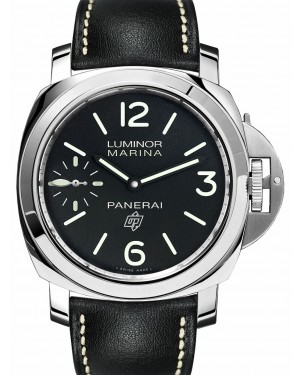 Panerai PAM 00776 Luminor Logo Stainless Steel Black Arabic/Index Dial & Leather Strap 44mm - BRAND NEW