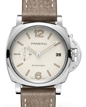 Panerai PAM 01043 Luminor Due Stainless Steel White Arabic/Index Dial & Leather Strap 38mm - BRAND NEW
