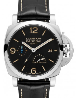 Panerai PAM 01321 Luminor GMT Power Reserve Stainless Steel Black Arabic/Index Dial & Leather Strap 44mm - BRAND NEW