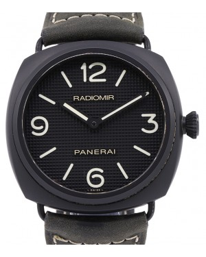 Panerai PAM 643 Radiomir Ceramica Ceramic Black Arabic / Index Dial & Smooth Leather Bracelet 45mm