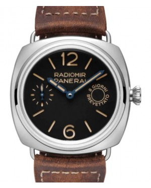 Panerai Radiomir 8 Days Stainless Steel 45mm Black Dial Leather Strap PAM00992 - BRAND NEW