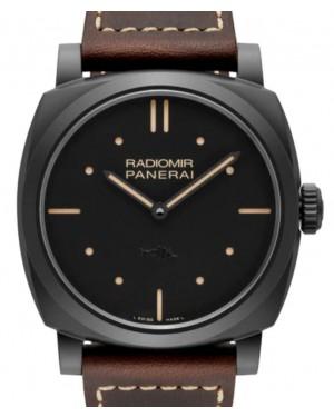Panerai Radiomir Black Ceramic 48mm Black Dial Leather Strap PAM00577 - BRAND NEW