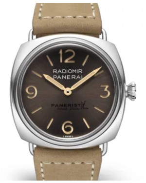 Panerai Radiomir Venti Stainless Steel 45mm Brown Dial Leather Strap PAM02020 - BRAND NEW