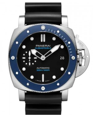 Panerai Submersible Azzurro Stainless Steel 42mm Black Dial Rubber Strap PAM01209 Online Exclusive - BRAND NEW