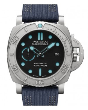 Panerai Submersible Mike Horn Edition Titanium 47mm Black Dial Recycled PET Nylon Strap PAM00985 - BRAND NEW