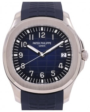 """Patek Philippe Aquanaut """"Jumbo"""" White Gold 42.2mm Blue Dial Composite Rubber Strap 5168G - PRE OWNED"""