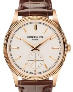 """Patek Philippe Calatrava """"Clous de Paris"""" Rose Gold 39mm Silver Dial Strap 6119R-001 - BRAND NEW"""