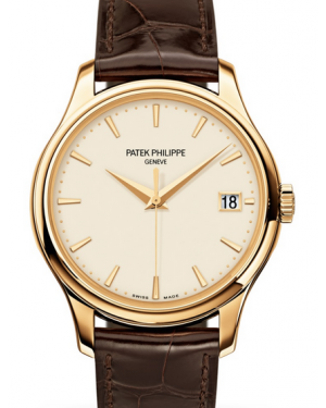 Patek Philippe Calatrava Ivory Index Dial Yellow Gold Bezel Brown Leather Strap 39mm 5227J-001 - BRAND NEW