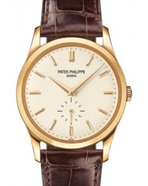 Patek Philippe Calatrava Small Seconds Manual-Wind 37mm Yellow Gold Silver Dial Leather Strap 5196J-001 - BRAND NEW