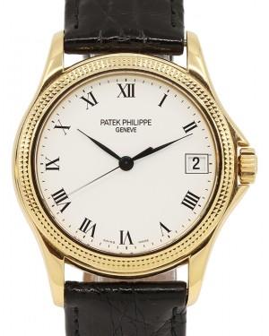 Patek Philippe Calatrava Yellow Gold White Roman Dial Hobnail Bezel Leather Bracelet 37 mm 5117J - PRE-OWNED