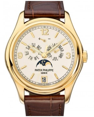 Patek Philippe Complications Annual Calendar Moon Phase Date Automatic Yellow Gold 39mm Cream Dial Alligator Leather Strap 5146J-001 - BRAND NEW