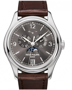 Patek Philippe Complications Annual Calendar Moon Phase Slate Grey Dial White Gold Bezel Brown Leather Strap 39mm 5146G-010 - BRAND NEW