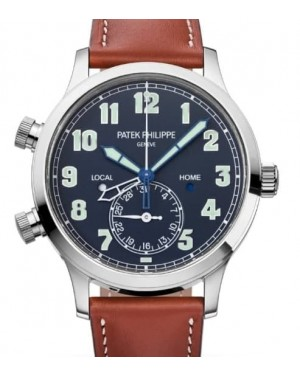 Patek Philippe Complications Calatrava Pilot Travel Time Automatic White Gold 42mm Blue Dial Leather Strap 5524G-001 - BRAND NEW