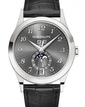 Patek Philippe Complications Charcoal Gray Sunburst Arabic Dial White Gold Bezel Black Leather Strap 38.5mm 5396G-014 - BRAND NEW