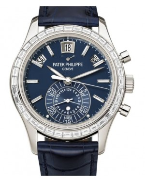 Patek Philippe Complications Chronograph Annual Calendar Platinum 40.5mm Blue Dial Diamond Set 5961P-001 - BRAND NEW