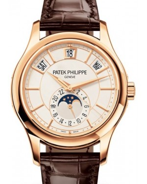 Patek Philippe Complications Annual Calendar Moon Phase Automatic Rose Gold 40mm White Dial Alligator Leather Strap 5205R-001 - BRAND NEW