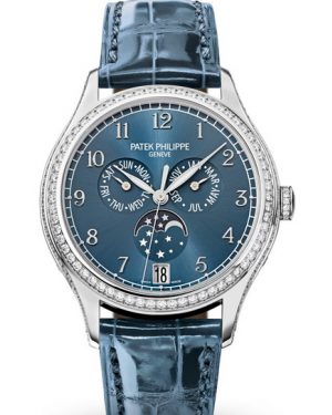 Patek Philippe Complications Ladies Annual Calendar Moon Phase Blue Arabic Dial Diamond Bezel White Gold Leather 38mm 4947G-001 - BRAND NEW